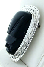 Load image into Gallery viewer, LADIES STERLING SILVER BLACK ONYX MASK HEAVY PIN 2.22""
