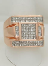 Load image into Gallery viewer, MENS 14k ROSE GOLD BAGUETTE SQUARE 2.00ct DIAMOND GALLERY BACK RING 19.5mm 24.4g