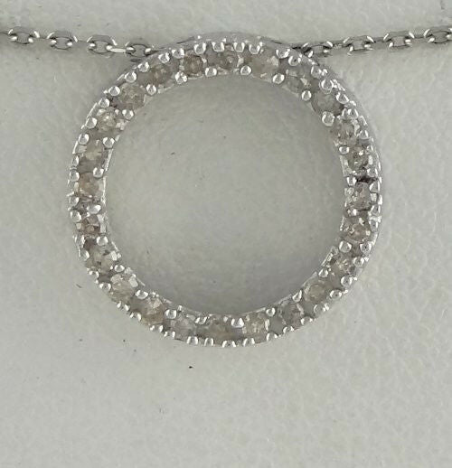 LADIES 10K WHITE GOLD 1/4ct 24 ROUND DIAMOND SMALL ETERNITY PENDANT CHARM .54
