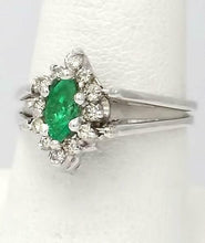 Load image into Gallery viewer, 14k WHITE GOLD .44ctw MARQUISE EMERALD 1/2ct ROUND DIAMOND MAY DOUBLE FLIP RING