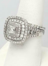 Load image into Gallery viewer, 14k WHITE GOLD 2ctw PRINCESS CUT DIAMOND PAVE THREE HALO ENGAGEMENT BRIDAL SET