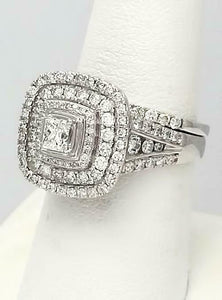 14k WHITE GOLD 2ctw PRINCESS CUT DIAMOND PAVE THREE HALO ENGAGEMENT BRIDAL SET
