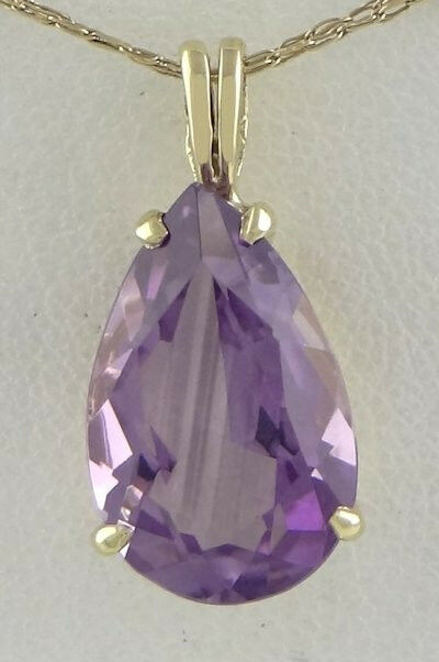 14K YELLOW GOLD 5.58ct 15x10mm PEAR SYNTHETIC AMETHYST FEBRUARY PENDANT CHARM