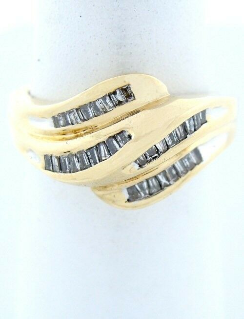 14K YELLOW GOLD 1/2ct 33 BAGUETTE DIAMOND WAVE SWIRL BAND RING