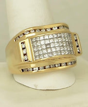 Load image into Gallery viewer, MENS 14k YELLOW GOLD 2.00ct ROUND SQUARE DIAMOND DOME GALLERY BACK RING 17.7g