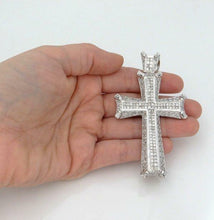 "Load image into Gallery viewer, MENS 14K WHITE GOLD 8.00ct DIAMOND CROSS CRUCIFIX GALLERY PENDANT 3.24"" 41g"