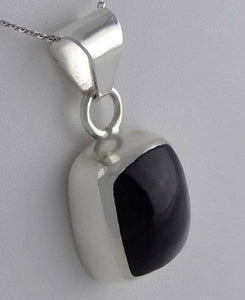925 STERLING SILVER BLACK STONE SOLITAIRE PENDANT