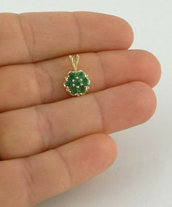 14K YELLOW GOLD 1/2ct 7 3mm ROUND EMERALD FLOWER MAY PENDANT CHARM