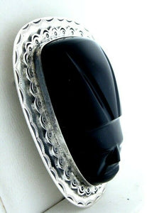 LADIES STERLING SILVER BLACK ONYX MASK HEAVY PIN 2.22""