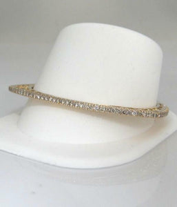 14K YELLOW GOLD 3.00ct DIAMOND FILIGREE TRIANGULAR OVAL BANGLE BRACELET 7 1/2""
