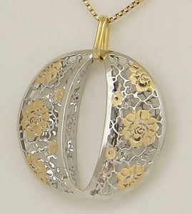 LADIES TWO TONE 14k GOLD CIRCLE INITIAL O FLORAL FILIGREE PUFF PENDANT 1.28""