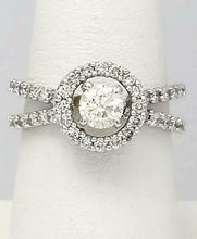 Load image into Gallery viewer, 18k WHITE GOLD PAVE DOUBLE BAND 1 1/4ct ROUND DIAMOND HALO ENGAGEMENT RING