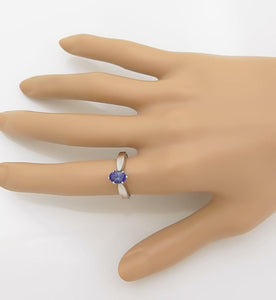 LADIES 10k WHITE GOLD 1.00ct OVAL SOLITAIRE TANZANITE PRONG ENGAGEMENT RING
