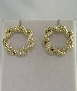 14K YELLOW GOLD CIRCLE ROPE SOLID SCREW BACK CLIP ON