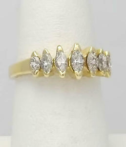 LADIES 14k YELLOW GOLD 1.00ct MARQUISE CUT DIAMOND ANNIVERSARY BAND RING