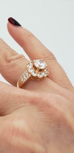 14K YELLOW GOLD 7mm 2.00ct CZ ROUND HALO RING