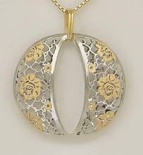 Load image into Gallery viewer, LADIES TWO TONE 14k GOLD CIRCLE INITIAL O FLORAL FILIGREE PUFF PENDANT 1.28""