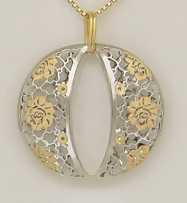 LADIES TWO TONE 14k GOLD CIRCLE INITIAL O FLORAL FILIGREE PUFF PENDANT 1.28