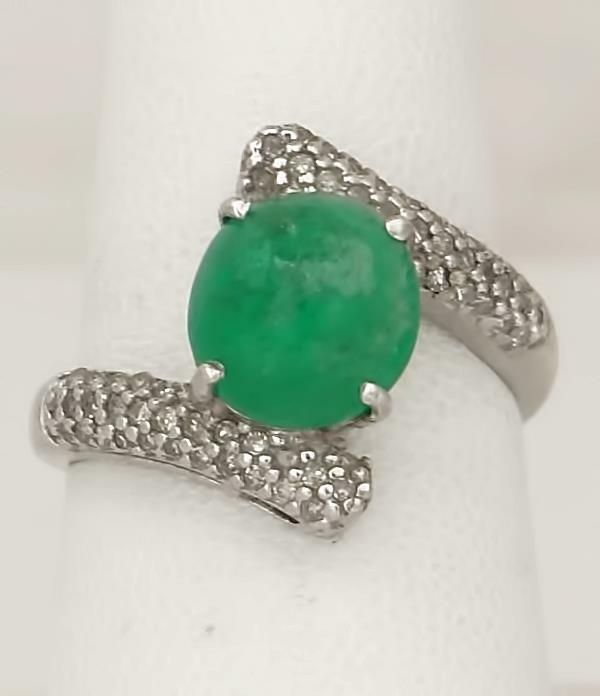 LADIES 10k WHITE GOLD 3.00ct ROUND CABOCHON EMERALD 1/4ct DIAMOND WRAP RING