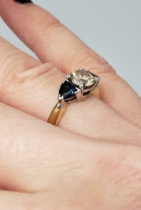 1.14ct BROWN DIAMOND & SAPPHIRE ENGAGEMENT RING in 18K YELLOW GOLD