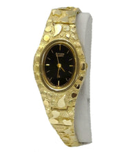 Load image into Gallery viewer, LADIES 10k YELLOW GOLD CITIZEN QUARTZ OVAL BLACK DIAL NUGGET LINK OVAL WATCH
