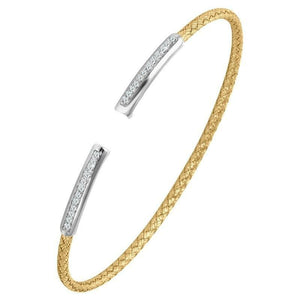 STERLING SILVER 2MM MESH CUFF KARA WITH 18K YELLOW GOLD AND RHODIUM FINISH 2MM