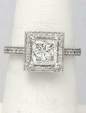 Load image into Gallery viewer, 1.85 CT. TW PRINCESS CUT DIAMOND HALO ENGAGEMENT RING in 14k WHITE GOLD