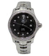 Load image into Gallery viewer, LADIES STAINLESS STEEL TAG HEUER LINK DIAMOND BLACK DIAL WATCH WJF131A 27MM