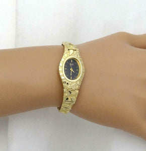 LADIES 10k YELLOW GOLD CITIZEN QUARTZ OVAL BLACK DIAL NUGGET LINK OVAL WATCH