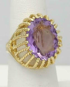 LADIES 14k YELLOW GOLD 9.00ct OVAL AMETHYST DOME FILIGREE SOLITAIRE RING