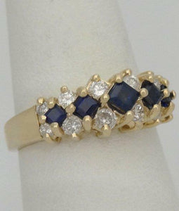 LADIES 14K YELLOW GOLD 1/3ct BLUE PRINCESS SAPPHIRE DIAMOND BAND RING 7m