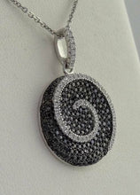 Load image into Gallery viewer, LADIES 925 STERLING SILVER SWIRL CIRCLE BLACK CLEAR ROUND CZ PENDANT CHARM 3.2g