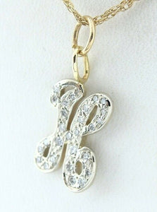 14K YELLOW GOLD ROUND DIAMOND LETTER H PENDANT CHARM