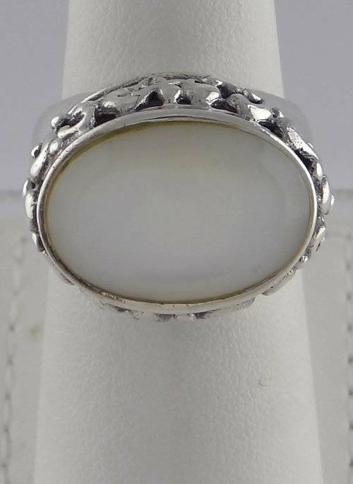 LADIES 925 STERLING SILVER 18x12mm OVAL CABOCHON MOP SOLITAIRE FINE JEWELRY RING