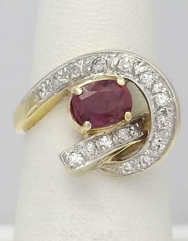14k YELLOW GOLD 1.00ct OVAL NATURAL RUBY .15ct ROUND DIAMOND SWIRL RING