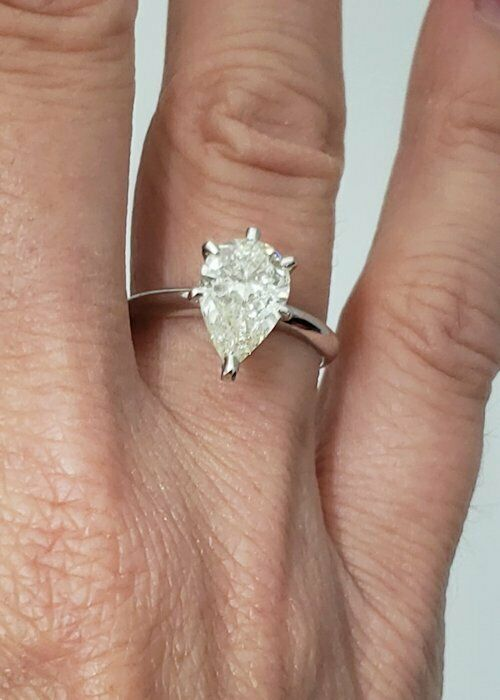 LADIES 14K WHITE GOLD PEAR SHAPED 2.00ct DIAMOND SOLITAIRE ENGAGEMENT RING 13mm