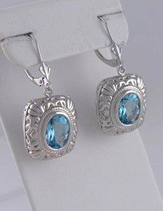 14K WHITE GOLD 5.00ct OVAL BLUE TOPAZ DANGLE EARRINGS