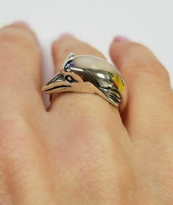 LADIES 925 STERLING SILVER CUSTOM MOP DOLPHIN WRAP HIGH POLISH FINE JEWELRY RING