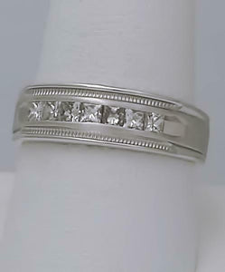MENS 14k WHITE GOLD 1/2ct SQUARE DIAMOND CHANNEL SET WEDDING BAND RING 6.6mm