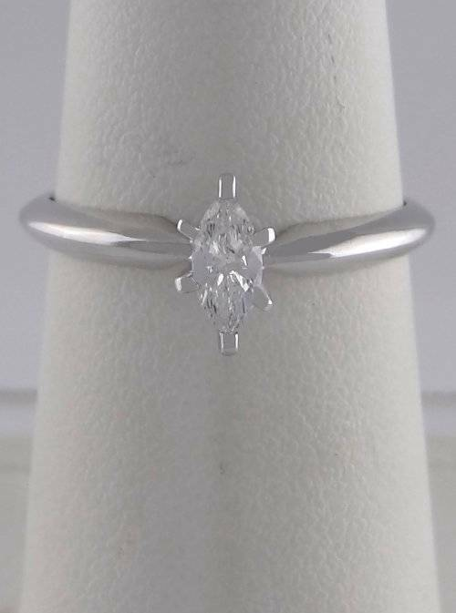 .21ct MARQUISE DIAMOND SOLITAIRE ENGAGEMENT WEDDING RING LADIES 14K WHITE GOLD