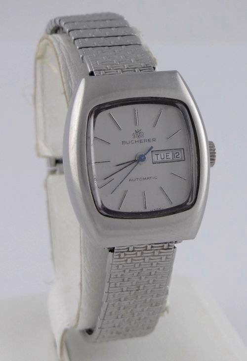 LADIES STAINLESS STEEL VINTAGE BUCHERER STRETCH AUTOMATIC DAY DATE WATCH 7 1/2