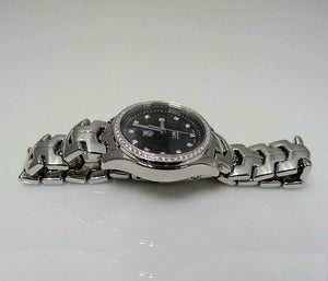 LADIES STAINLESS STEEL TAG HEUER LINK DIAMOND BLACK DIAL WATCH WJF131A 27MM