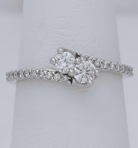 LADIES 14k WHITE GOLD FOREVER US 1/2ct ROUND DIAMOND PROMISE ENGAGEMENT RING