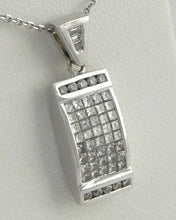 Load image into Gallery viewer, 14K WHITE GOLD INVISIBLE SET 1.00ct PRINCESS DIAMOND PENDANT