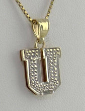 Load image into Gallery viewer, 14K YELLOW GOLD TEXTURED INITIAL U DOUBLE LAYERED PENDANT CHARM 1.9g