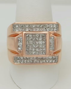 MENS 14k ROSE GOLD BAGUETTE SQUARE 2.00ct DIAMOND GALLERY BACK RING 19.5mm 24.4g