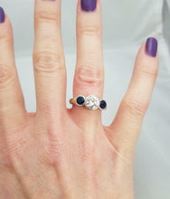 Load image into Gallery viewer, PLATINUM 750 1.17ct DIAMOND .50ct SAPPHIRE THREE STONE BEZEL SET ENGAGEMENT RING