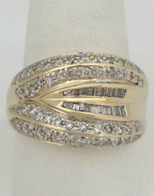 Load image into Gallery viewer, 14K YELLOW GOLD 1.00ct ROUND BAGUETTE DIAMOND HIGH POLISH WIDE BAND RING 15mm