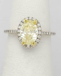 GIA 18k WHITE GOLD 2.00ct OVAL YELLOW ROUND WHITE DIAMOND HALO ENGAGEMENT RING