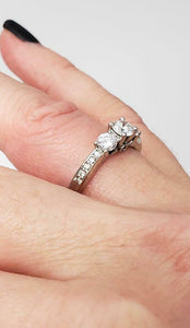 3/4 CT. T.W. Diamond Three Stone Vintage-Style Engagement Ring in 14K White Gold